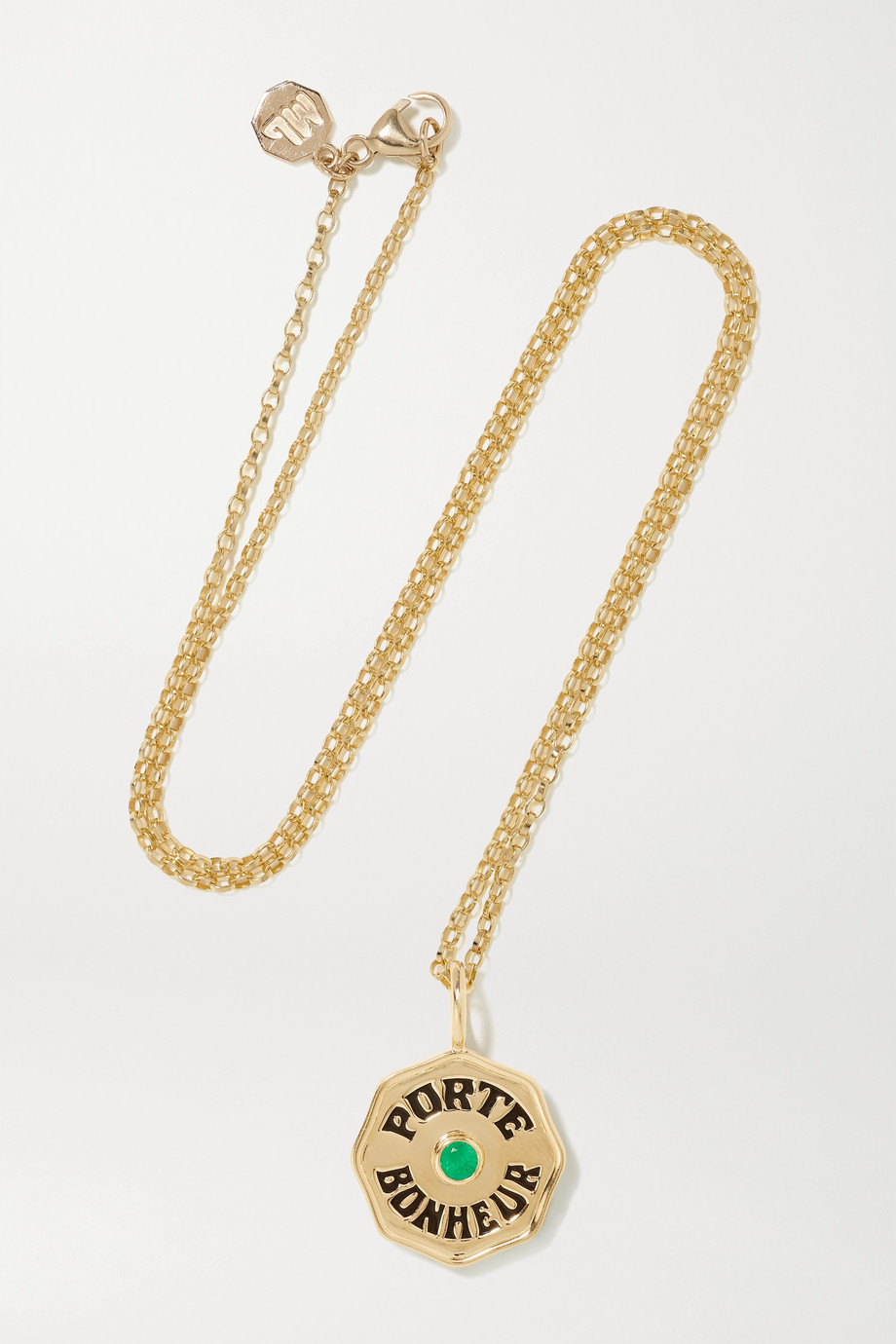 Marlo Laz Mini Porte Bonheur Coin 14-karat gold, enamel and emerald necklace