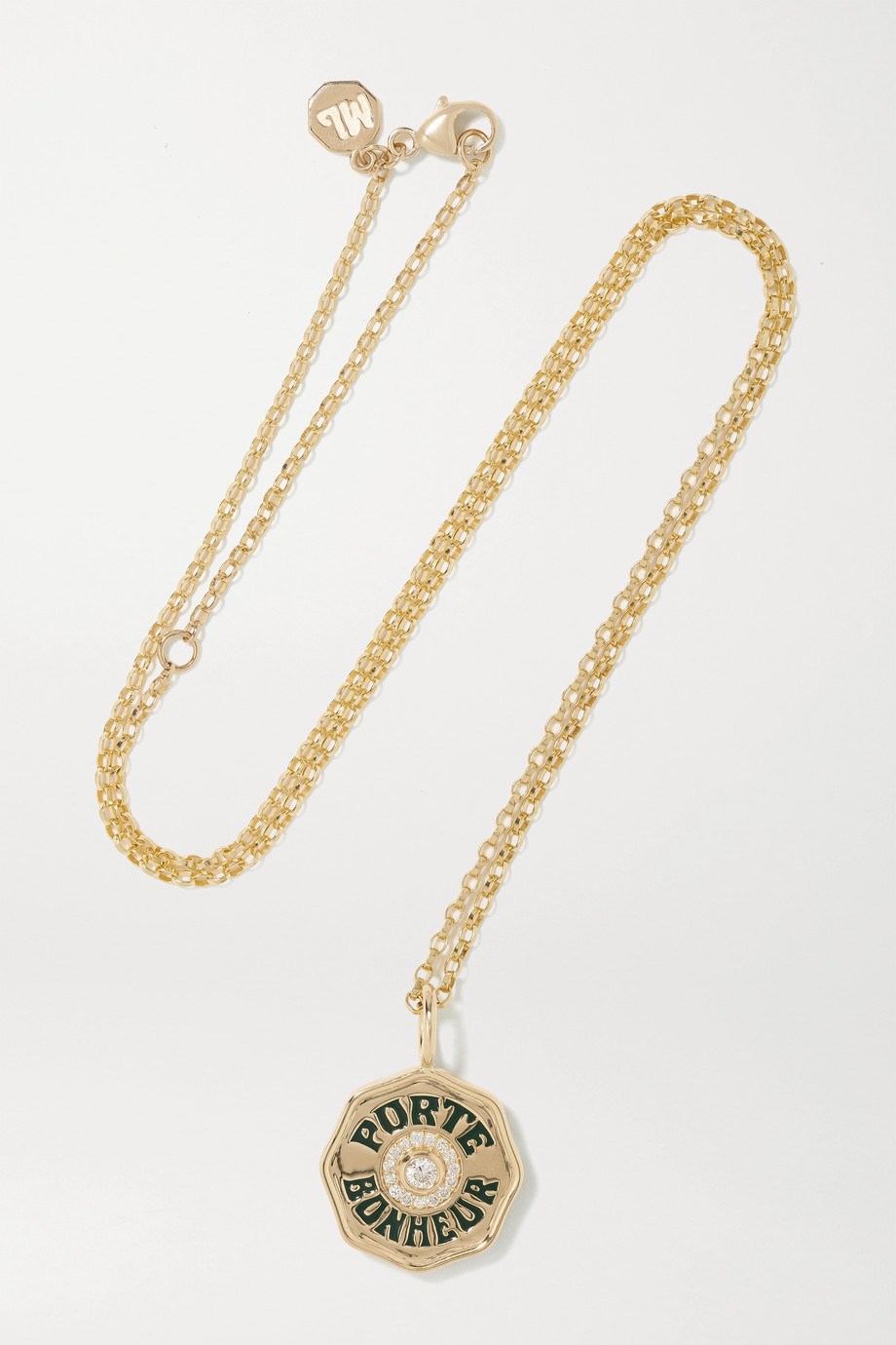 Marlo Laz Mini Porte Bonheur Coin 14-karat gold, enamel and diamond necklace