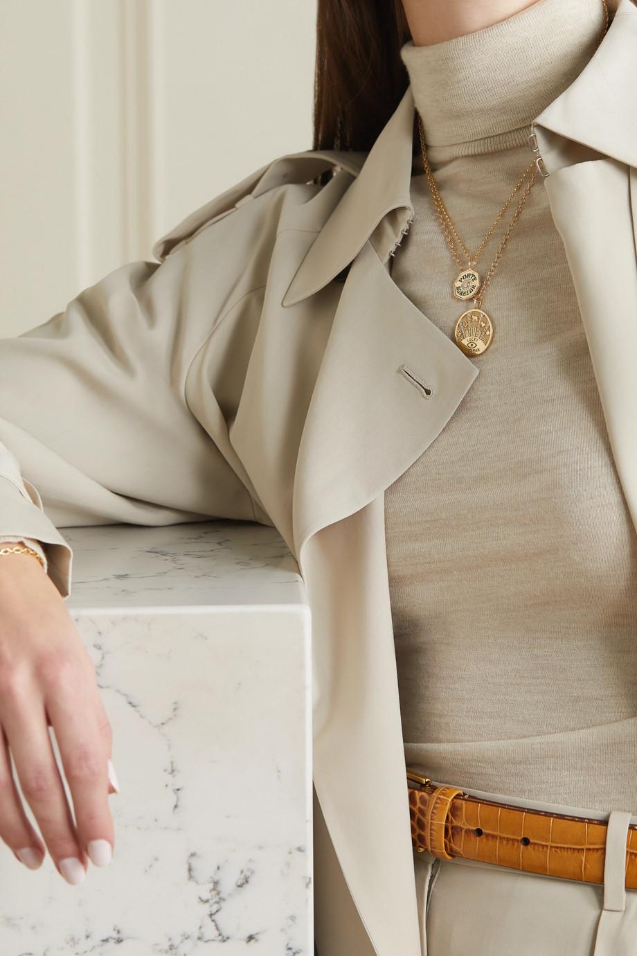Marlo Laz Mini Porte Bonheur Coin 14-karat gold, enamel and diamond necklace
