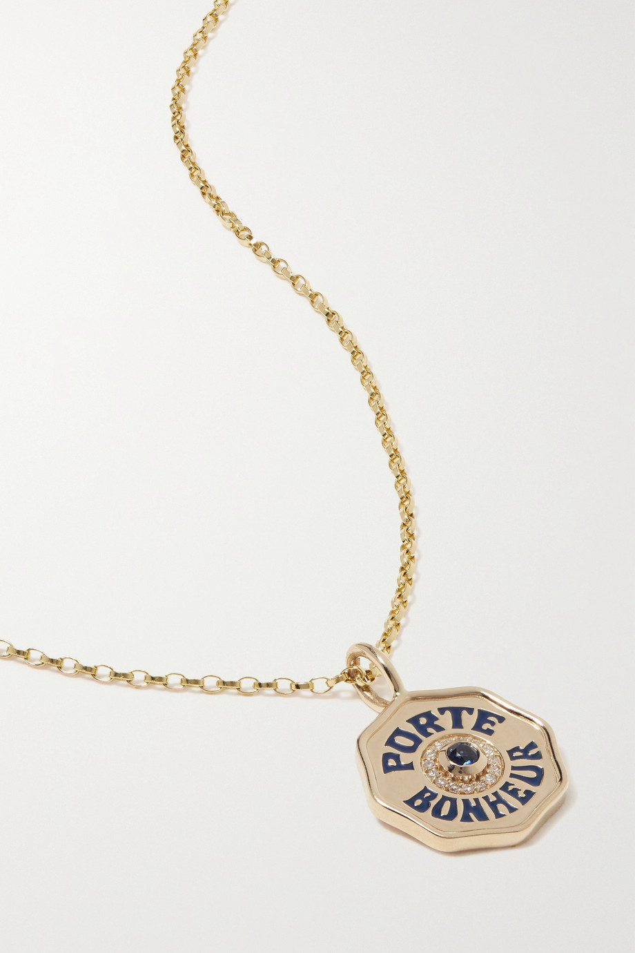 Marlo Laz Mini Porte Bonheur 14-karat gold, enamel, sapphire and diamond necklace