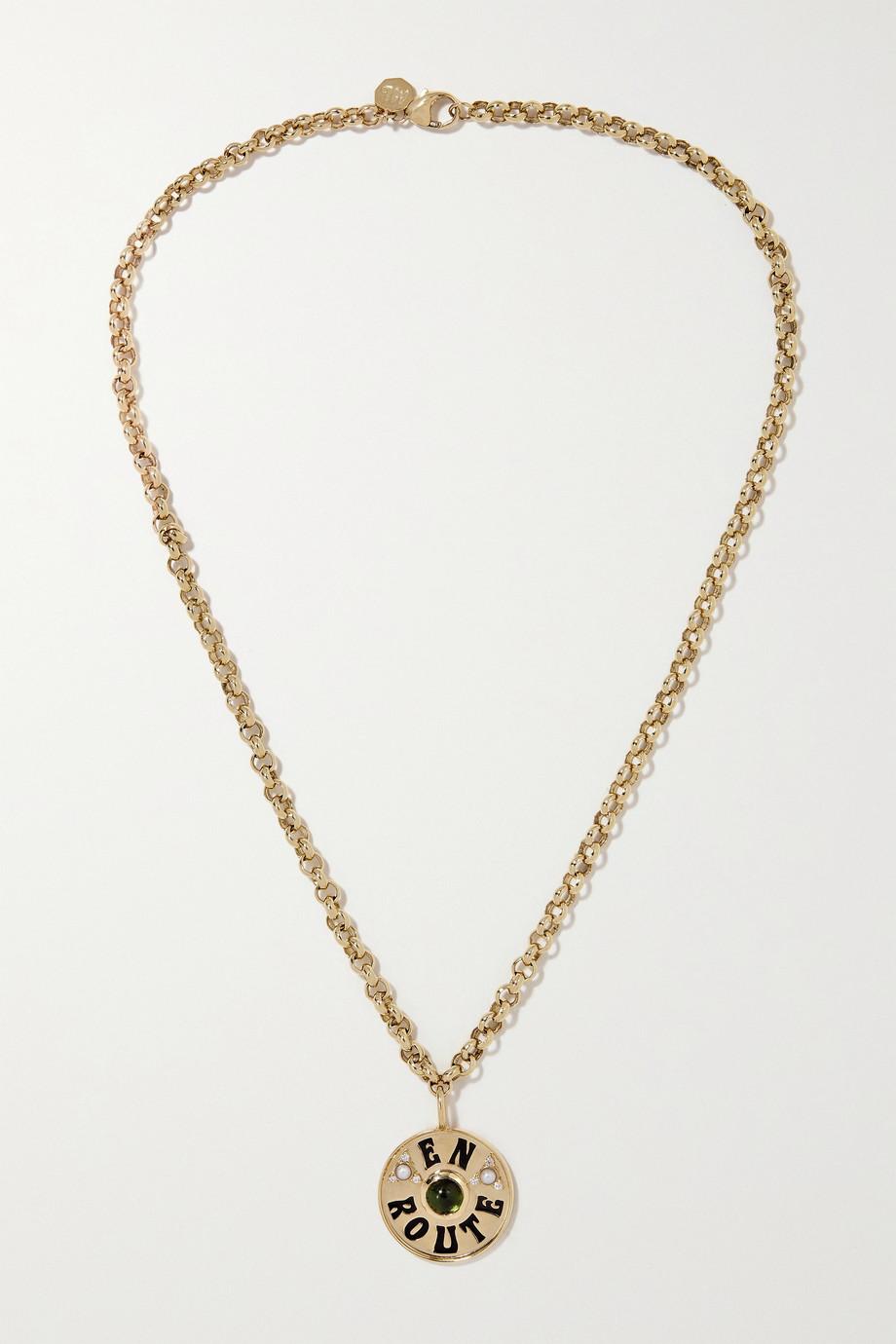 Marlo Laz En Route 14-karat gold, enamel and multi-stone necklace