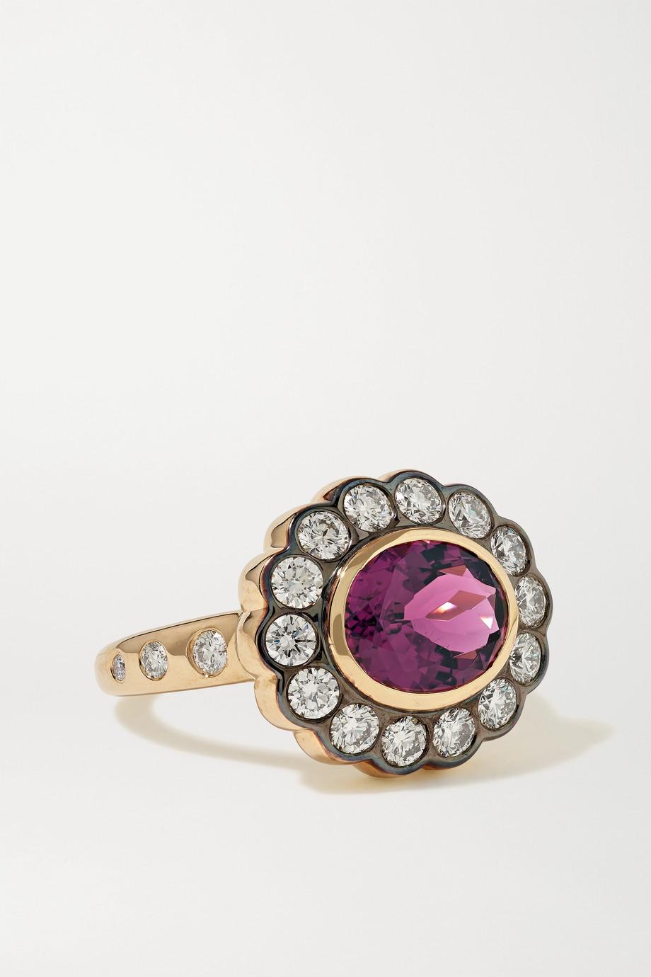 Marlo Laz Alexandra 14-karat gold, tourmaline and diamond ring