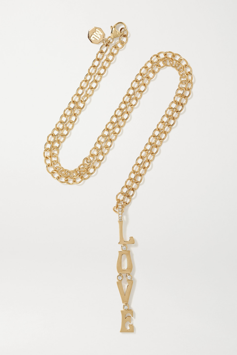 Marlo Laz Love 14-karat gold diamond necklace