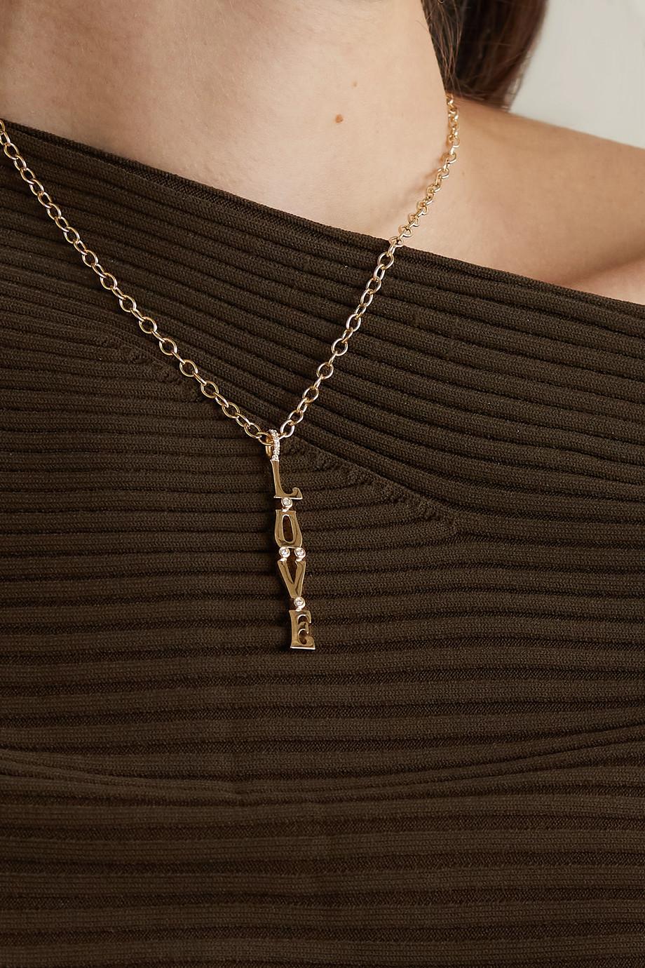 Marlo Laz Love Kette aus 14 Karat Gold mit Diamanten