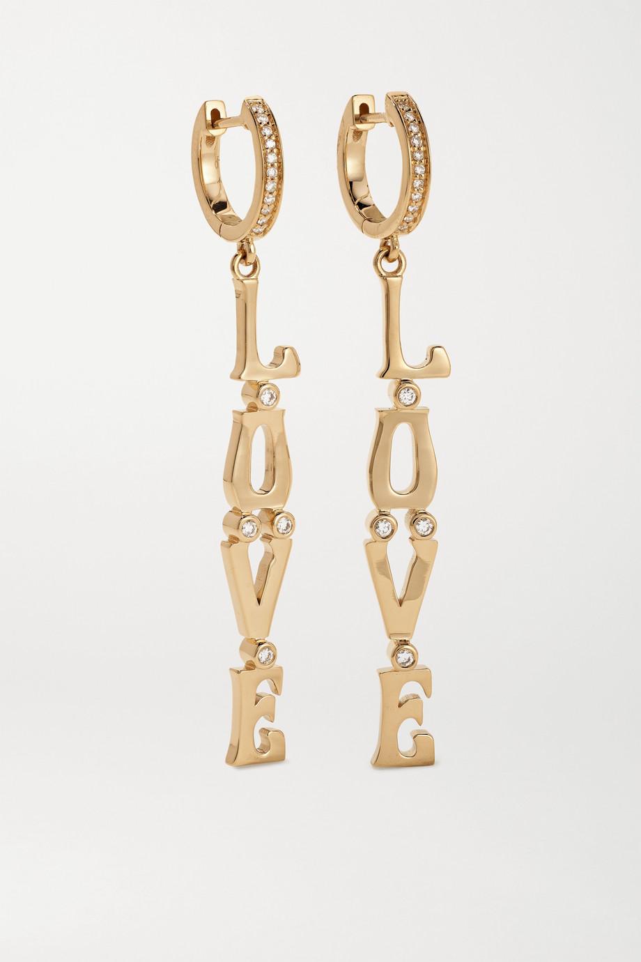 Marlo Laz Love 14-karat gold diamond earrings