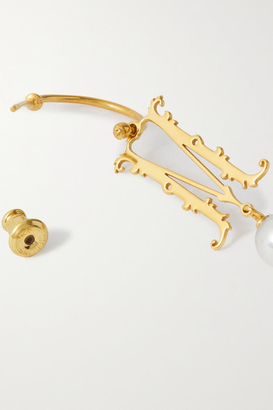Simone Rocha Initial gold-plated faux pearl hoop earring
