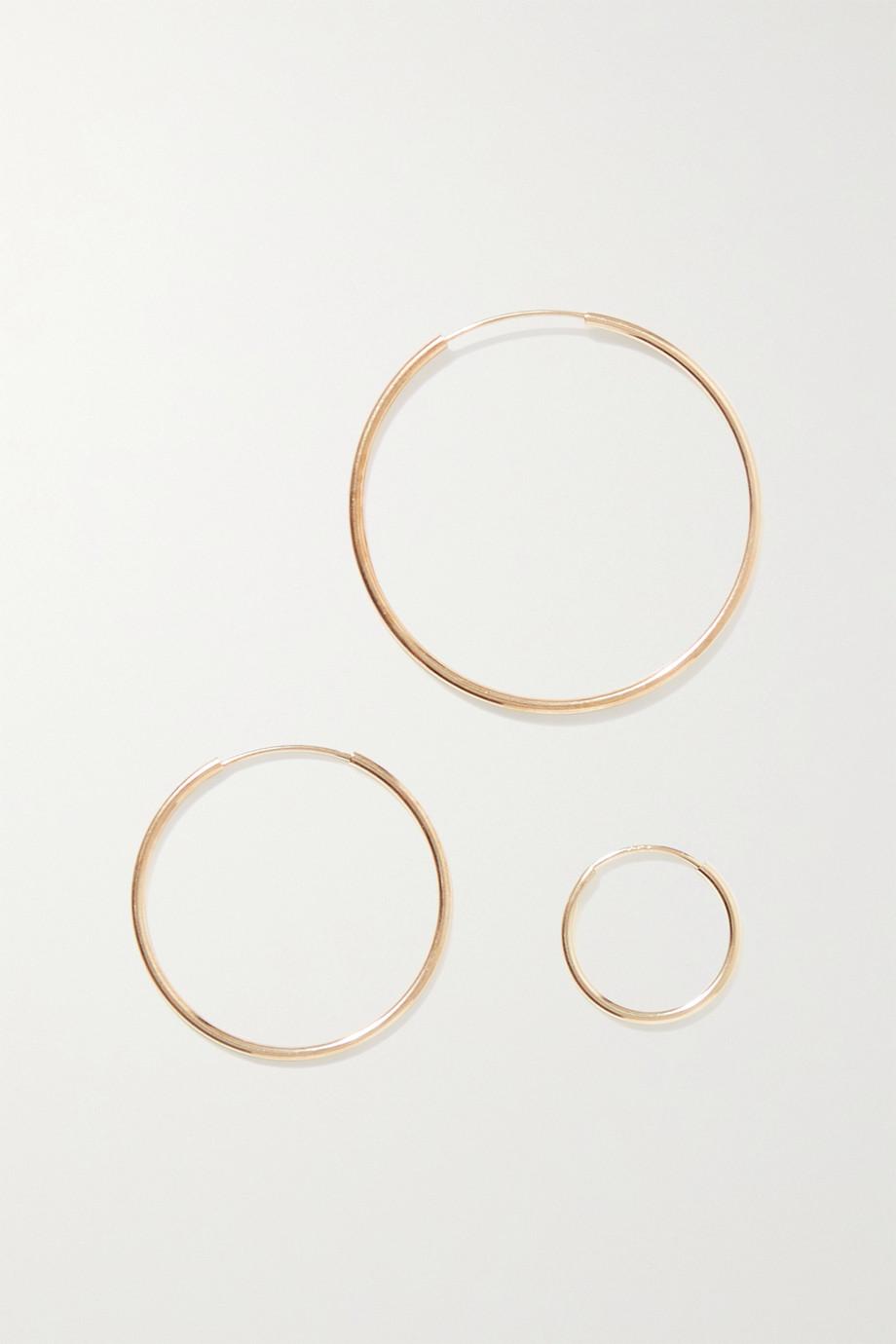 Loren Stewart Infinity set of three 14-karat gold hoop earrings