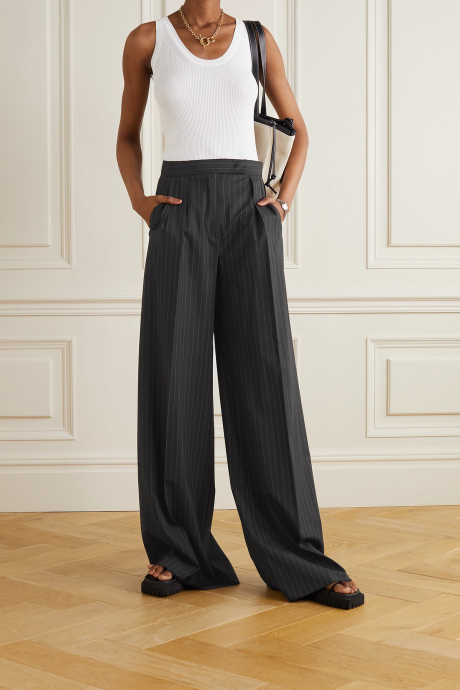 Max Mara Orsola pleated pinstriped stretch-wool wide-leg pants