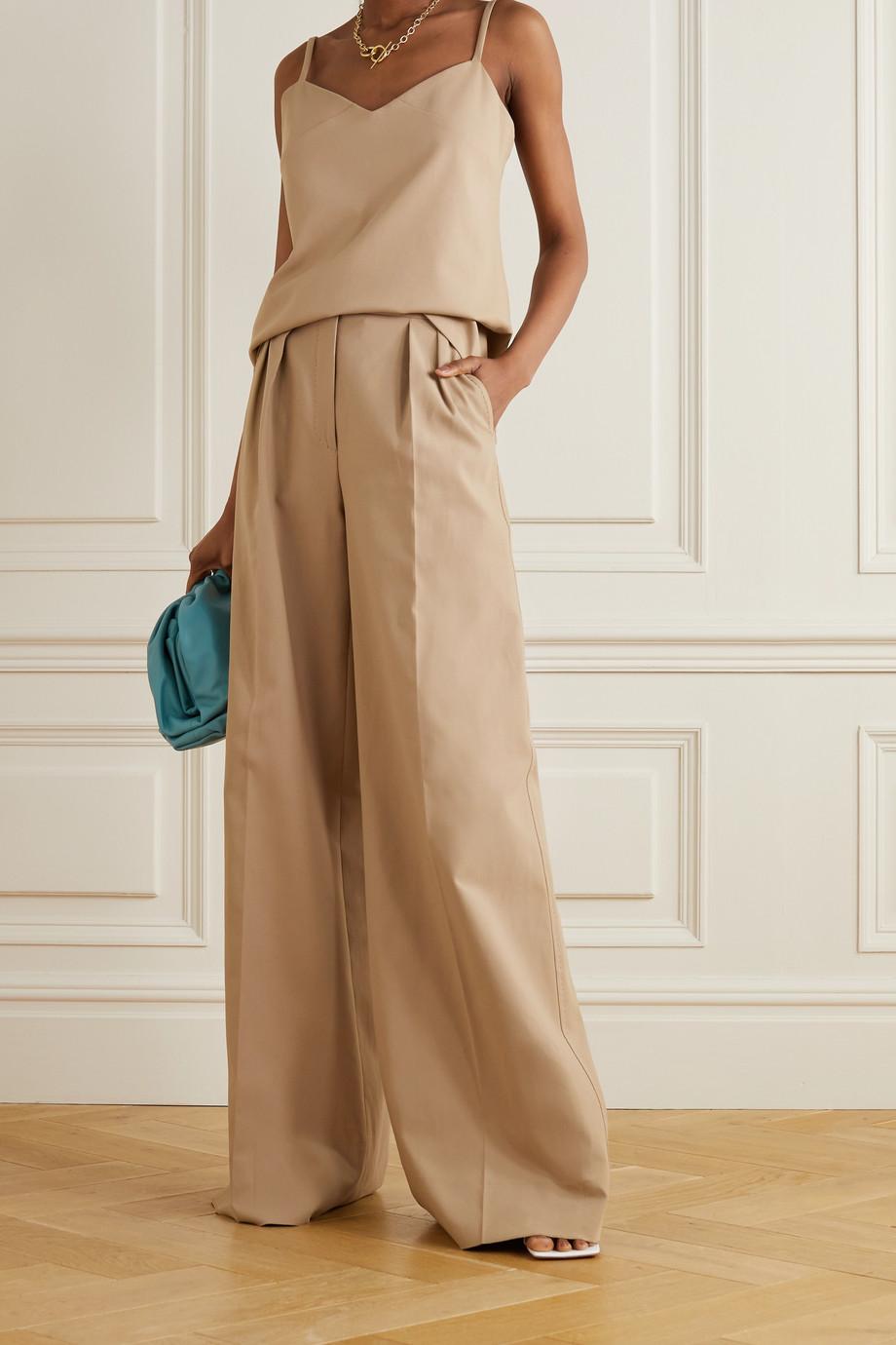Max Mara Malizia pleated stretch-cotton wide-leg pants