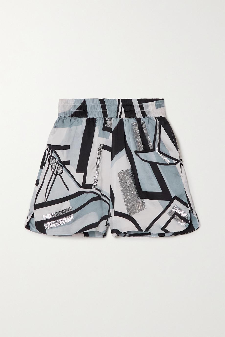 Retrofête Mackenzie sequin-embellished printed silk-blend shorts