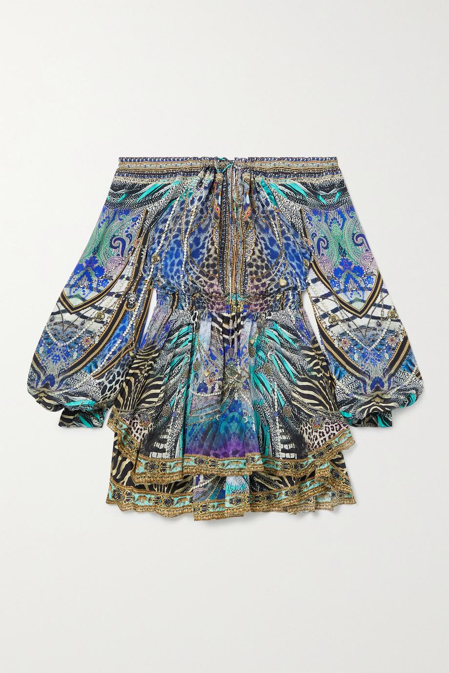 Camilla Off-the-shoulder crystal-embellished printed silk-chiffon mini dress