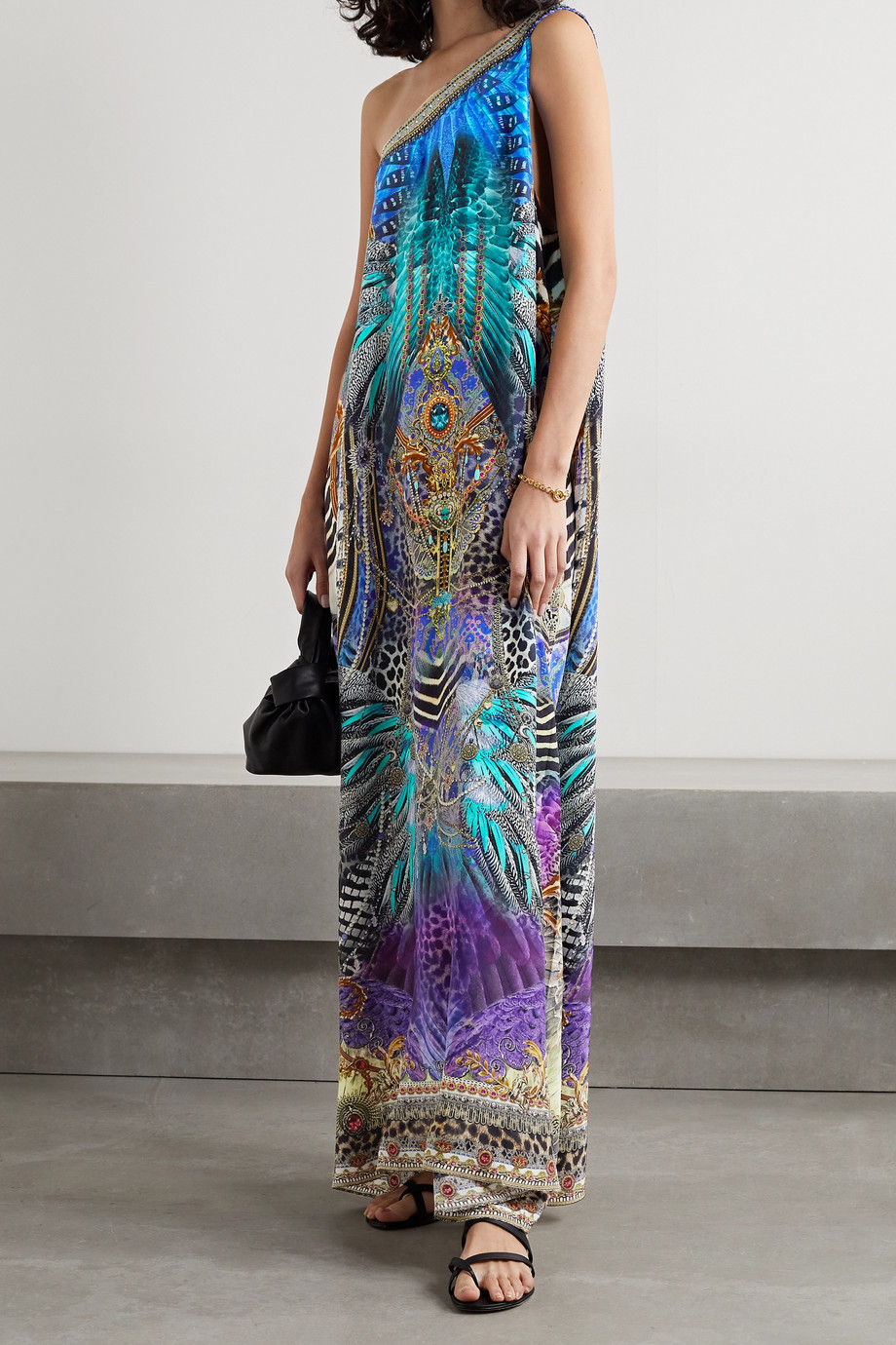 Camilla One-shoulder crystal-embellished printed silk-satin maxi dress