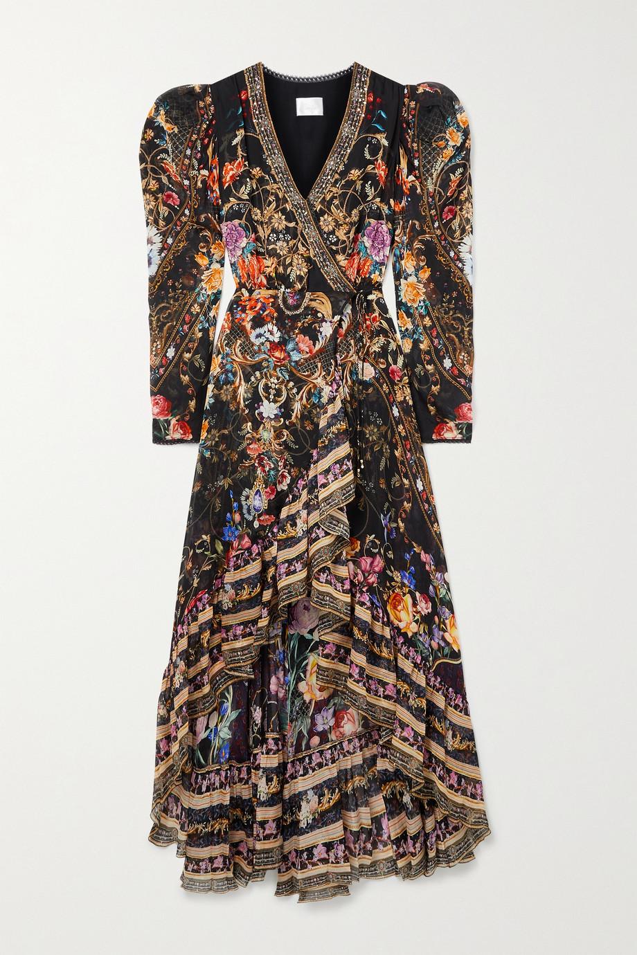 Camilla Crystal-embellished printed silk-chiffon wrap dress