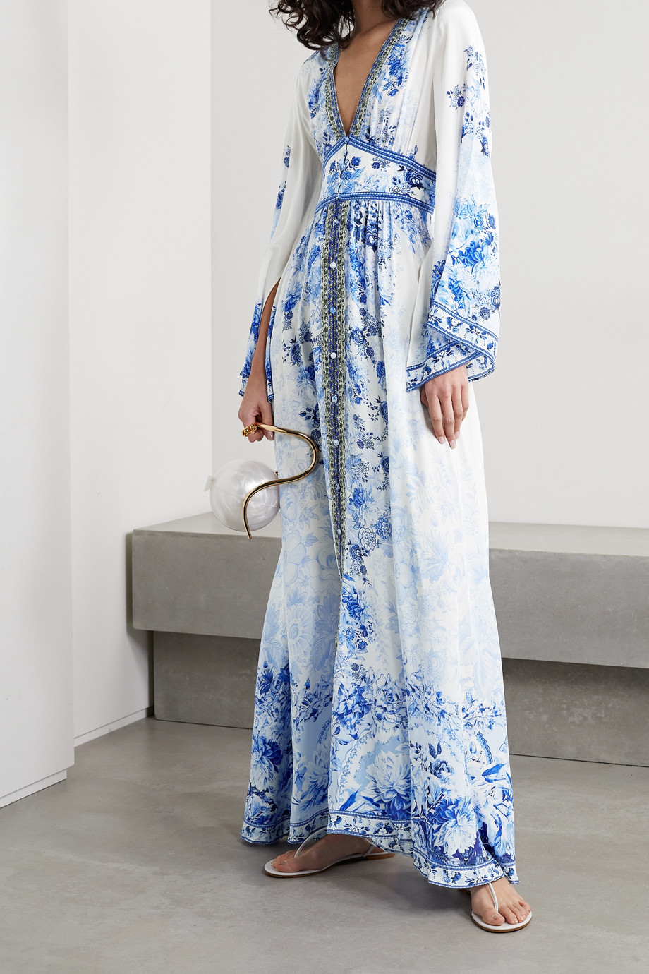 Camilla Crystal-embellished floral-print silk crepe de chine maxi dress