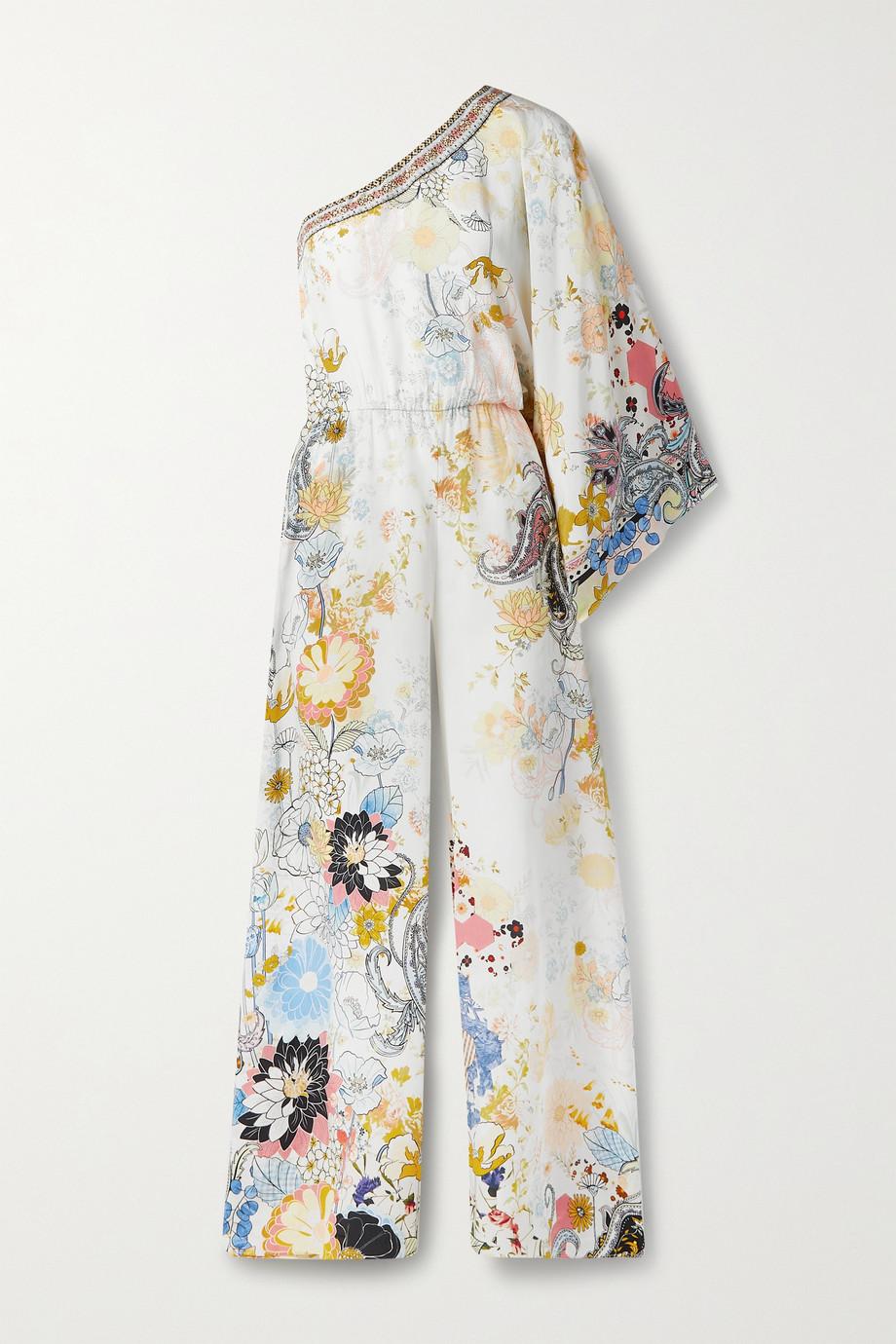 Camilla Combi-pantalon asymétrique en crêpe de Chine de soie à imprimé fleuri et à ornements