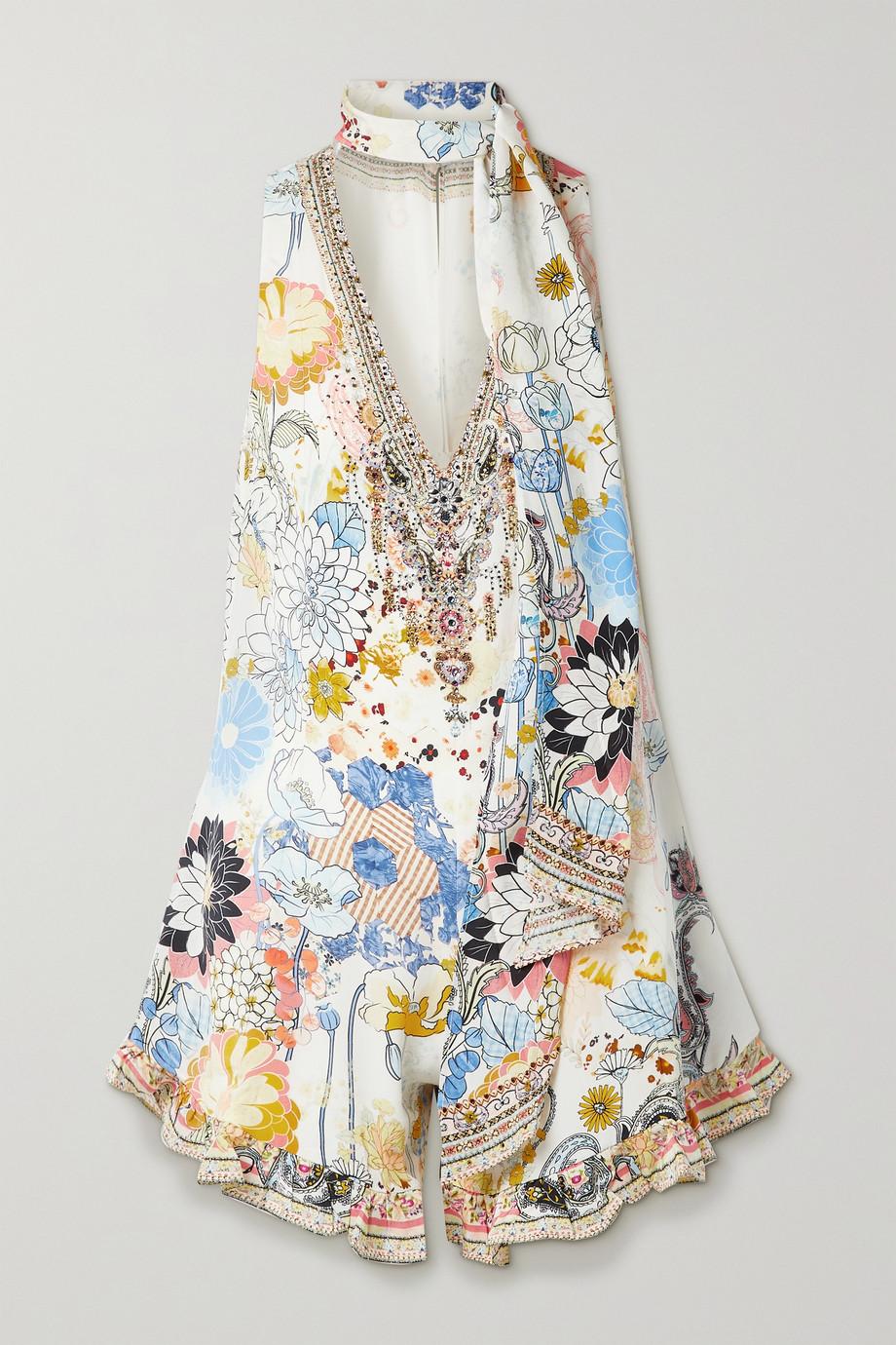 Camilla Combi-short en crêpe de Chine de soie à imprimé fleuri, à cristaux et à col noué