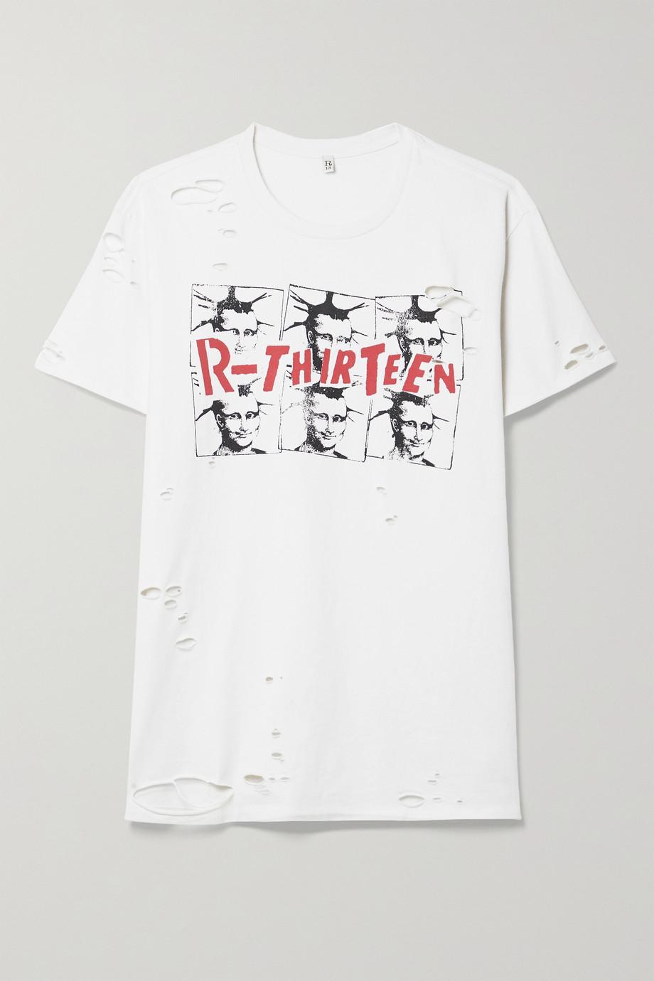 R13 T-shirt en jersey de coton imprimé effet vieilli Mona Lisa Boy