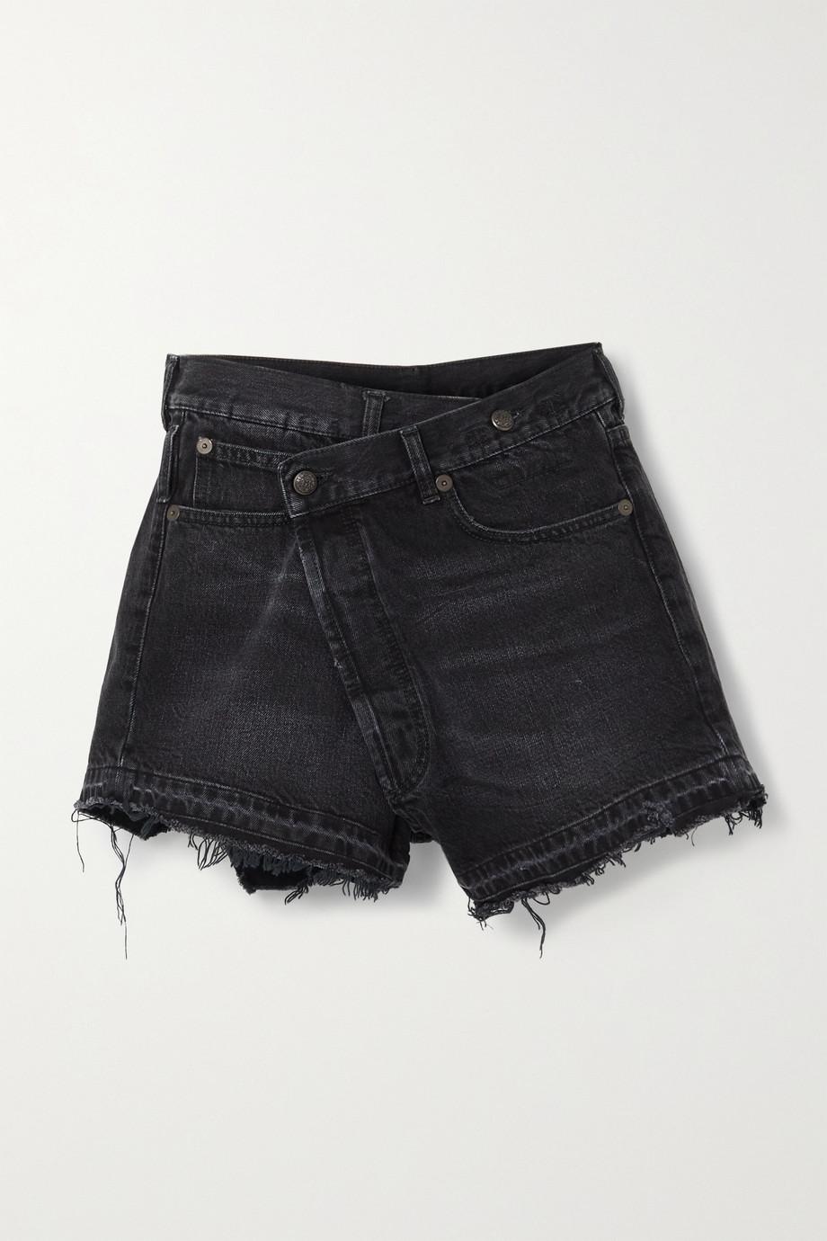 R13 Crossover asymmetric distressed denim shorts