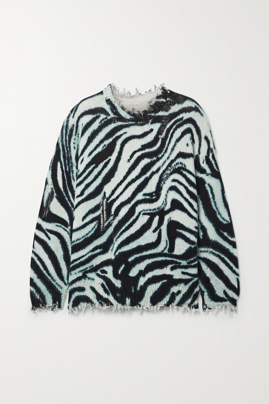 R13 Oversized-Pullover aus Baumwolle mit Zebraprint in Distressed-Optik