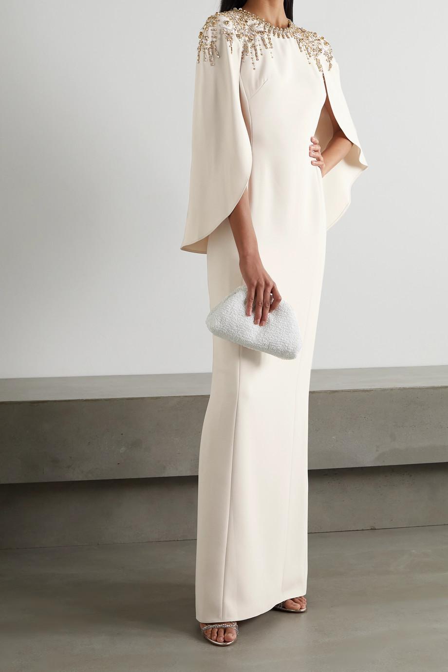 Jenny Packham Romantica cape-effect embellished crepe gown