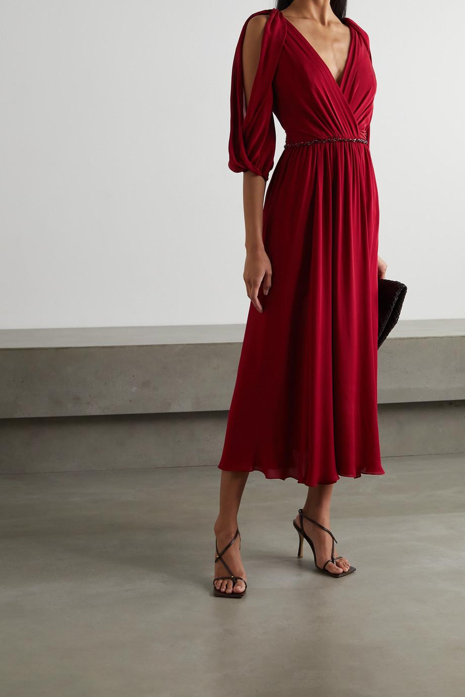 Jenny Packham Silk Road cold-shoulder embellished silk-georgette midi dress