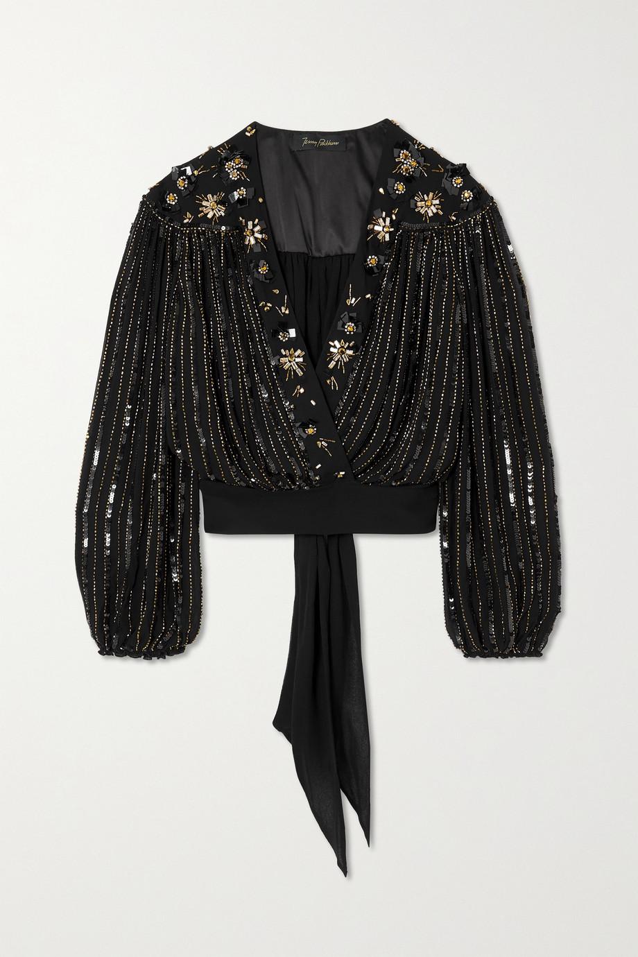 Jenny Packham Night Rider embellished georgette wrap blouse