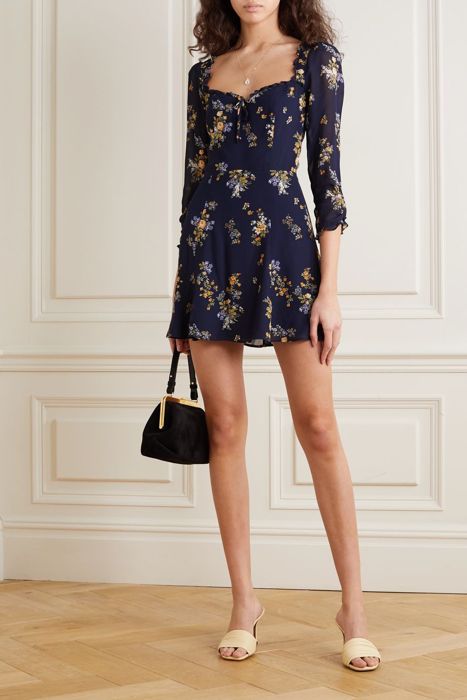 Reformation Remi ruffled floral-print crepe mini dress