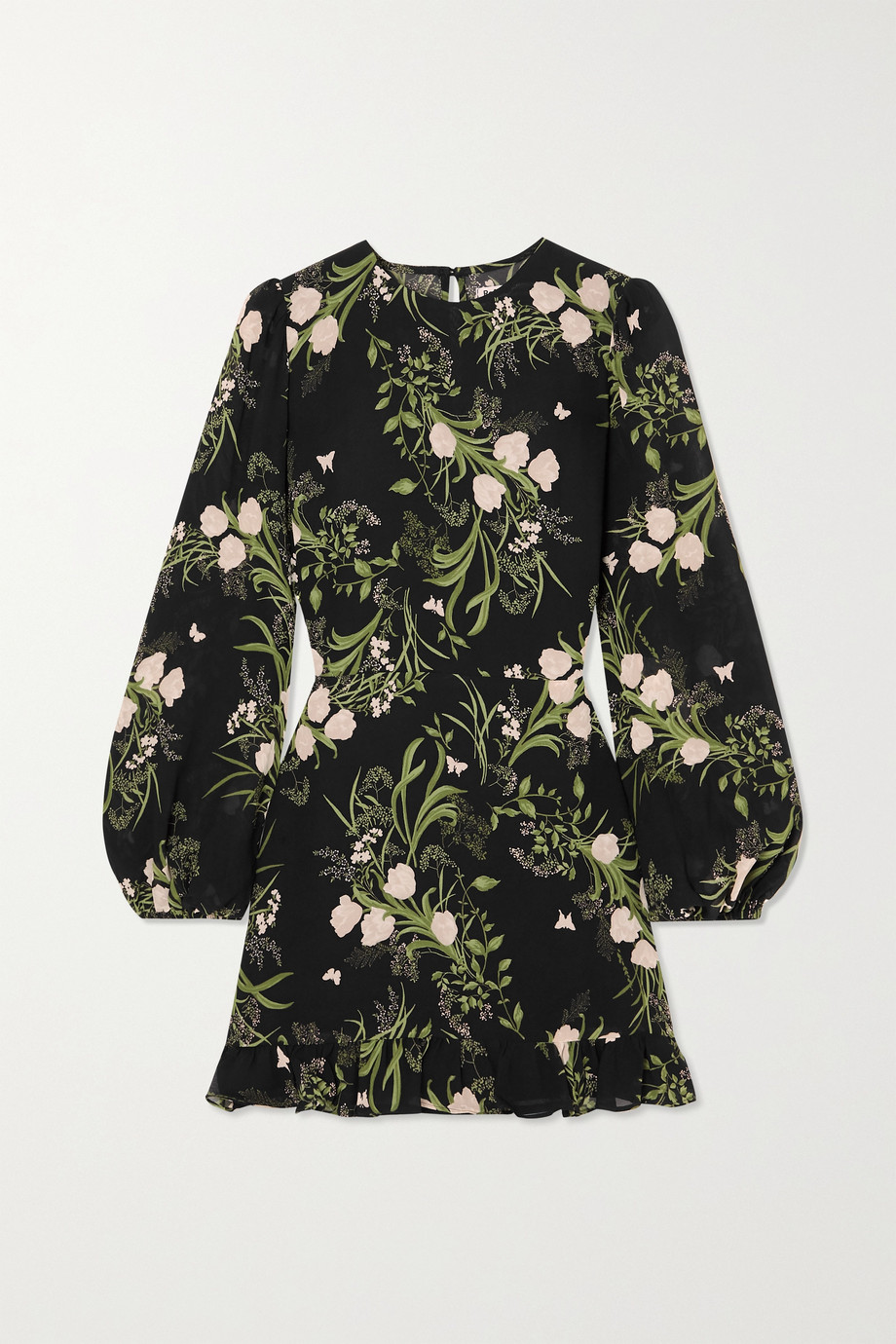 Reformation Resnick ruffled floral-print georgette mini dress