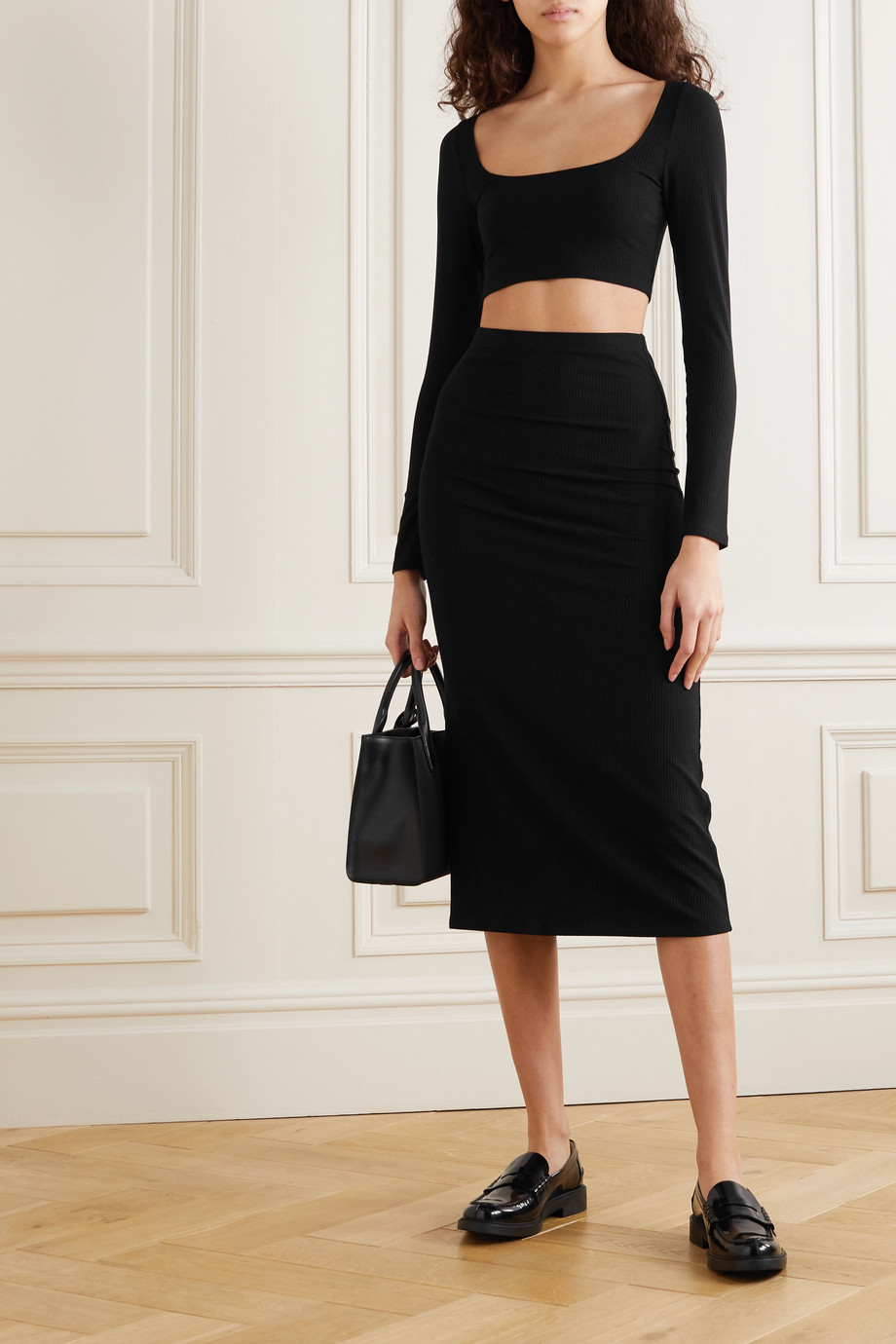 Reformation Pima ribbed stretch-Lyocell cropped top and midi skirt set