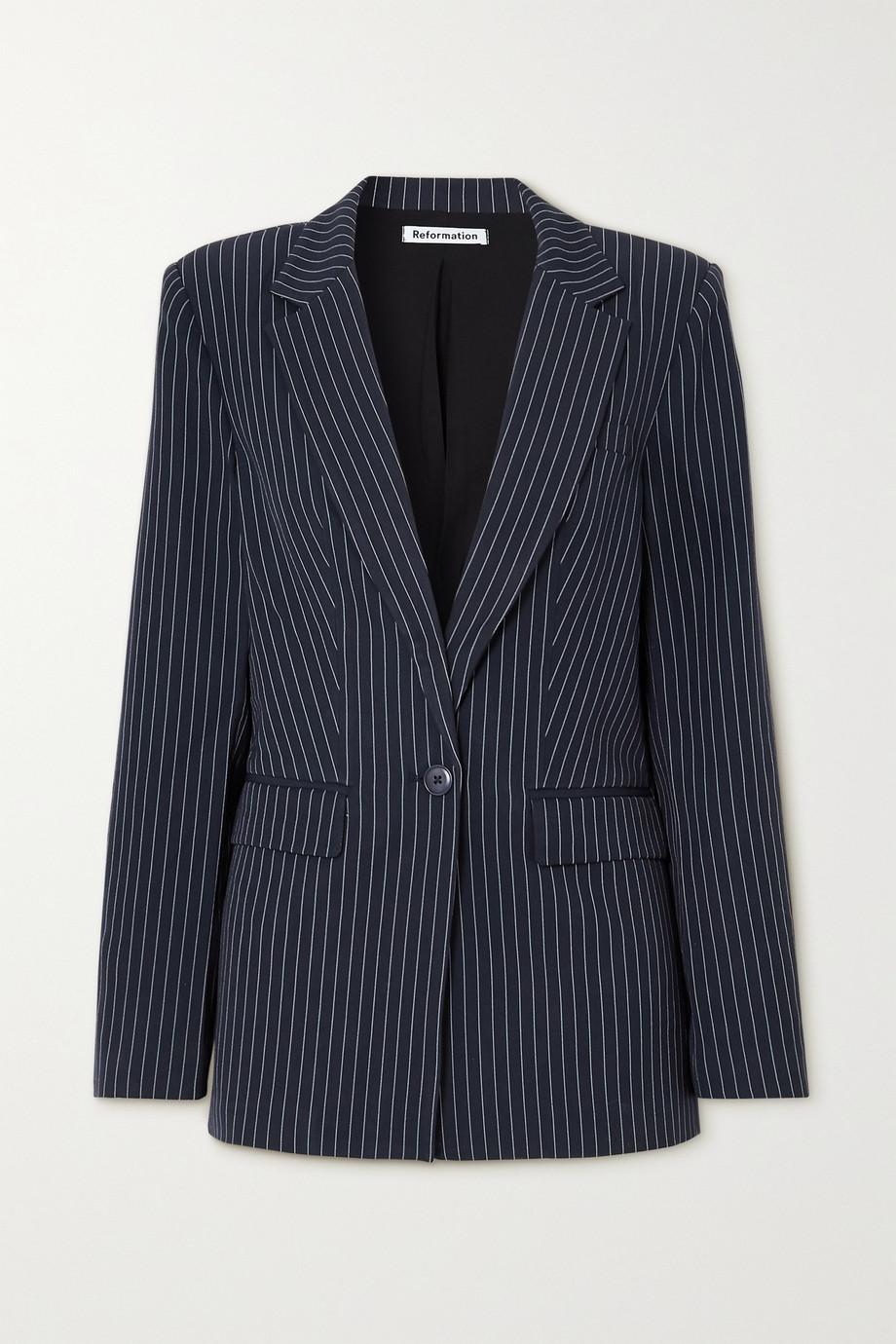 Reformation Dama 细条纹卡迪面料西装外套
