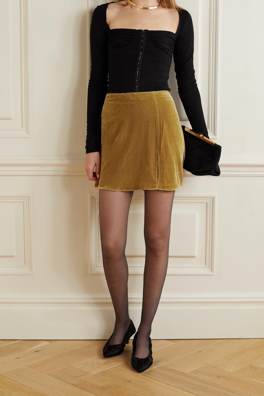 Reformation Cleo velvet mini skirt
