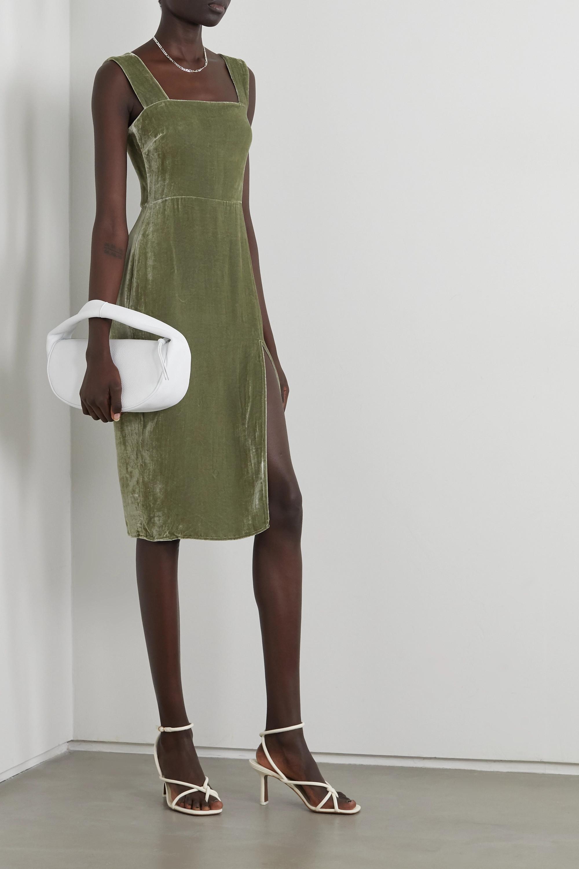 Green Velvet Midi Dress Reformation Net A Porter
