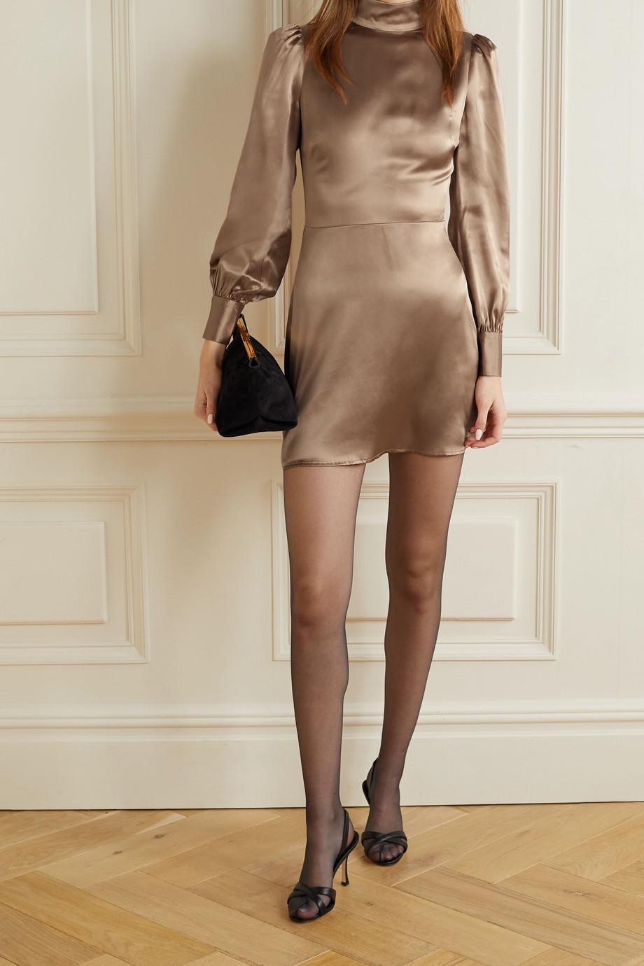 Reformation Kim rückenfreies Minikleid aus Seidensatin