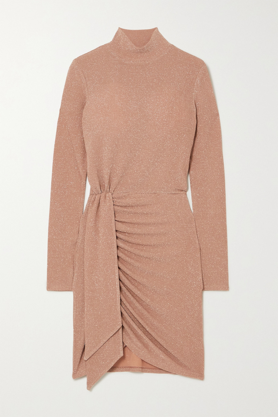 Reformation Paprika wrap-effect metallic stretch-jersey mini dress
