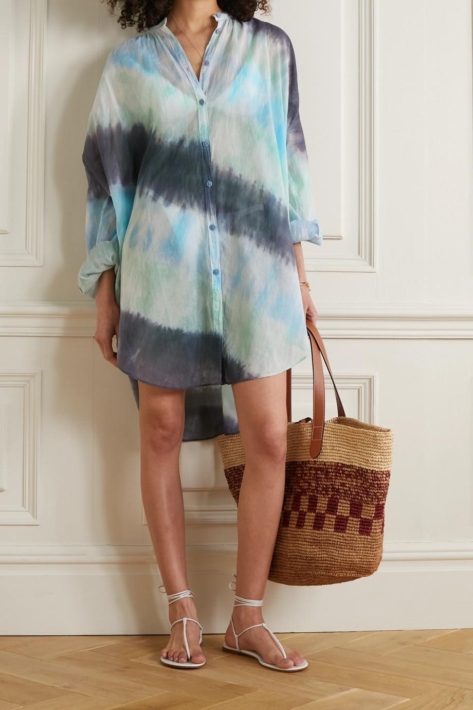 Skin Cafetan oversize en voile de coton tie & dye Brea