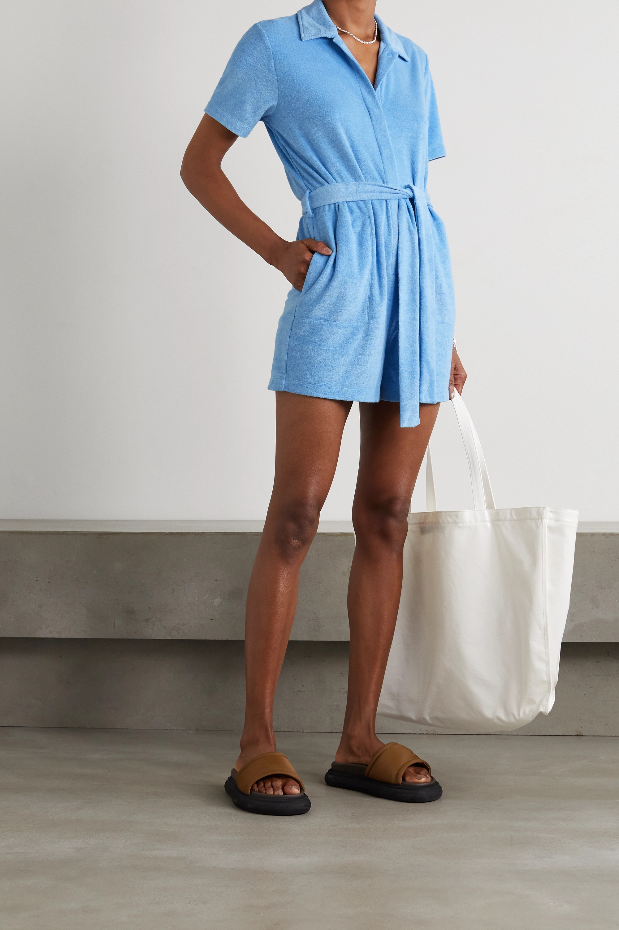 Skin Mags belted cotton-blend terry playsuit