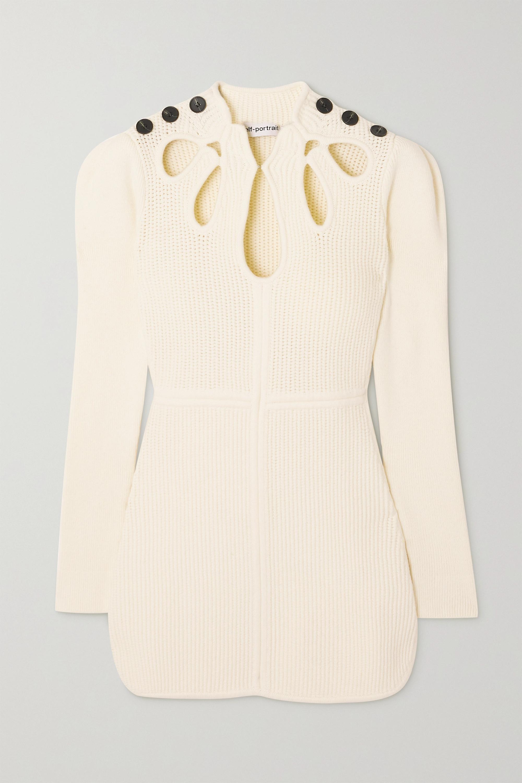 Self-Portrait Button-embellished cutout ribbed cotton-blend mini dress