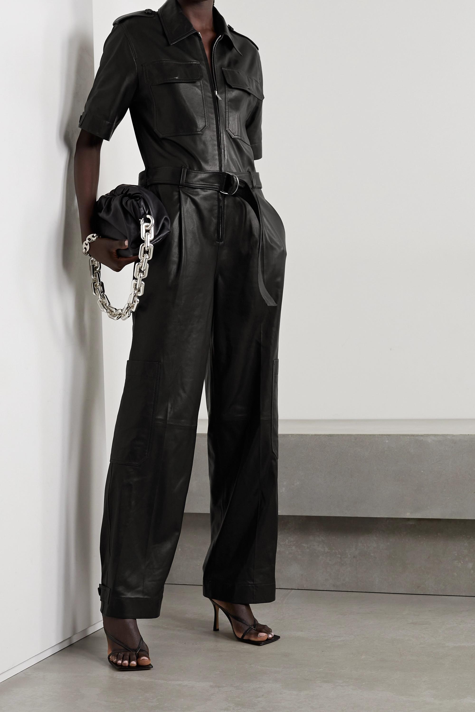 Helmut Lang Belted leather jumpsuit