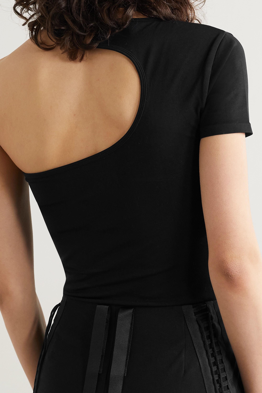 Helmut Lang One-shoulder cutout stretch-jersey T-shirt