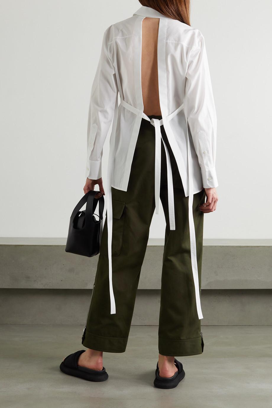 Helmut Lang Open-back cotton-poplin shirt