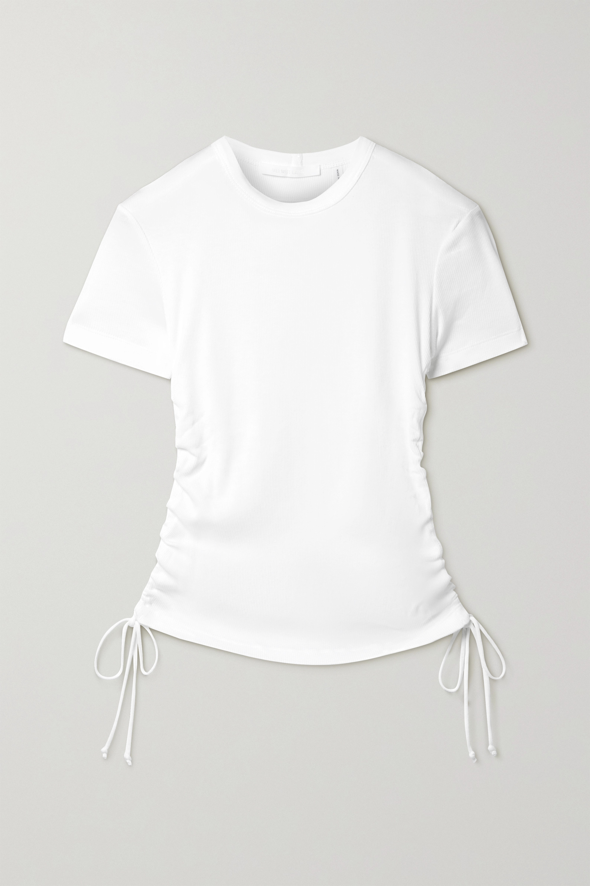 Helmut Lang Cutout ruched ribbed cotton-jersey T-shirt