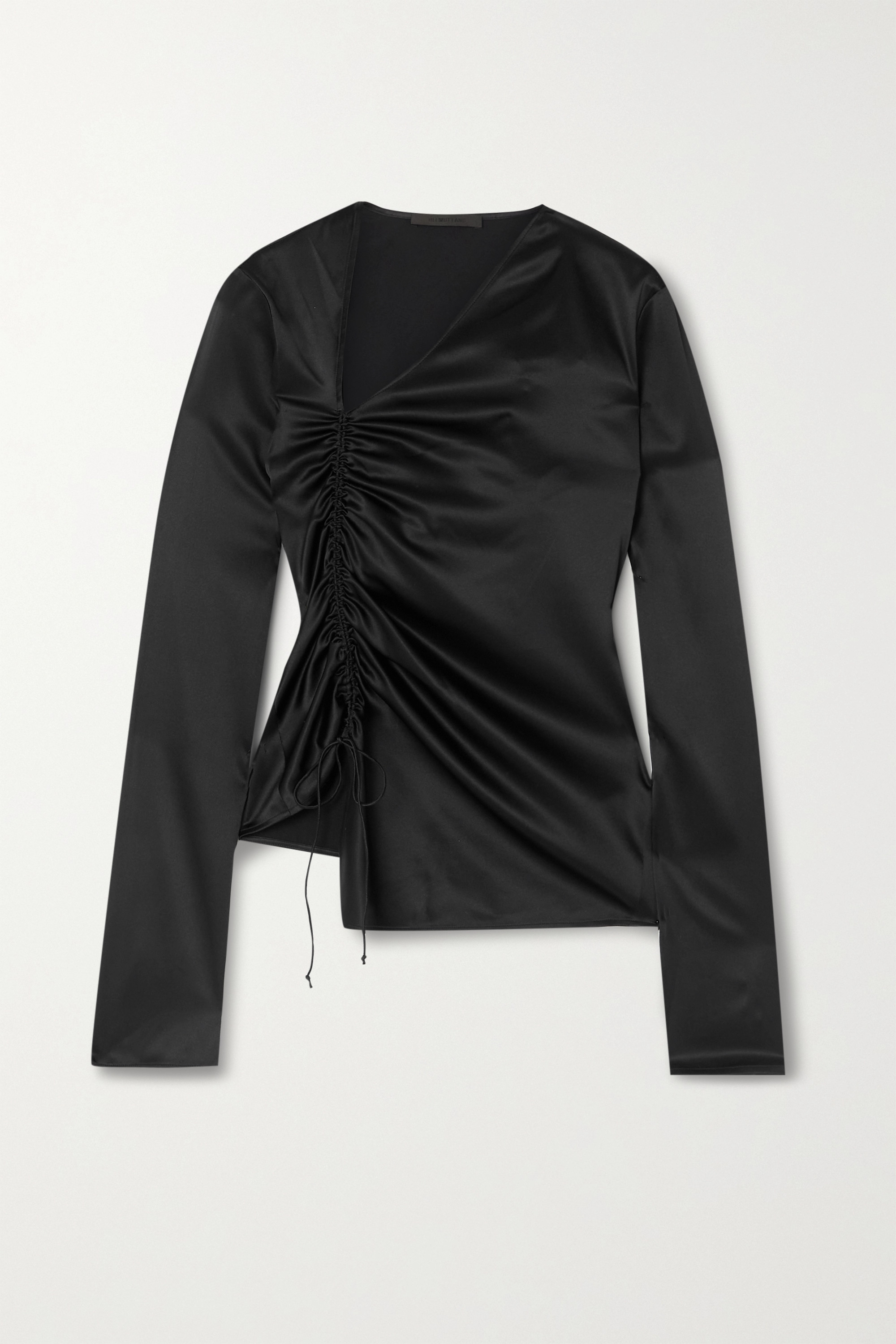 Helmut Lang Ruched stretch-silk satin top