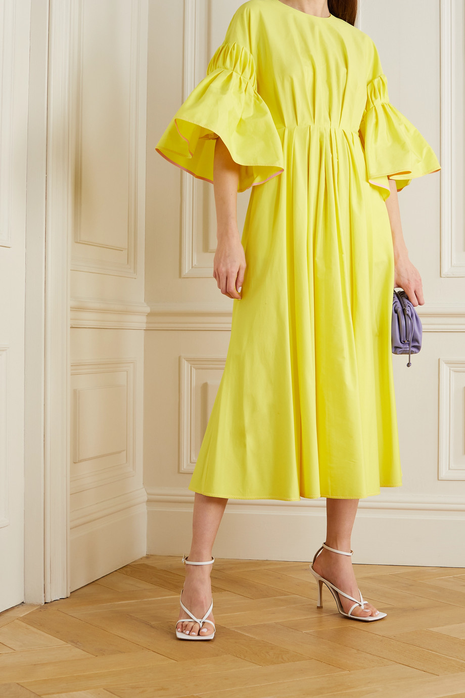 Roksanda Iosefina gathered cotton-poplin midi dress