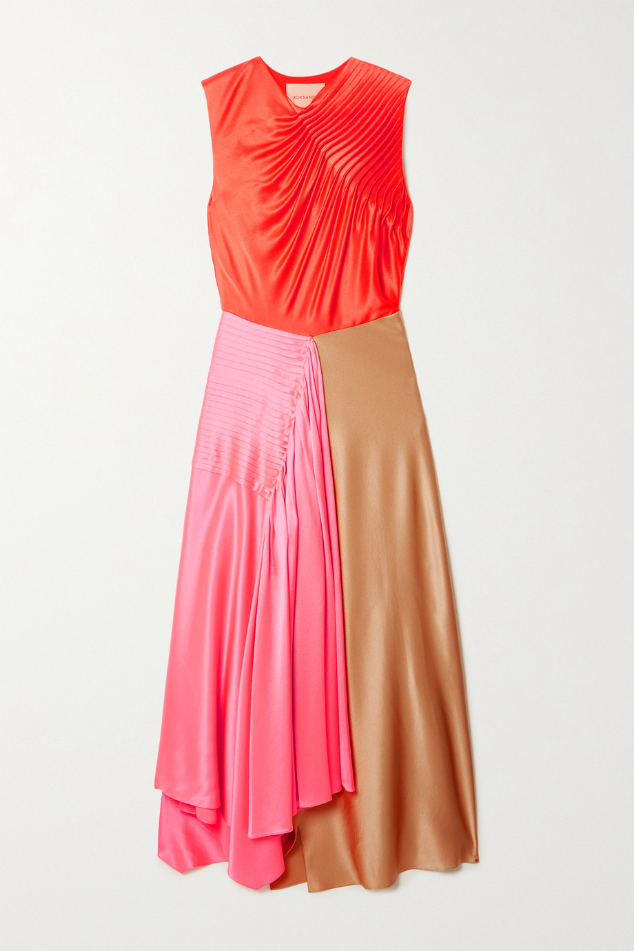 Roksanda Iris asymmetric pintucked color-block silk-satin dress