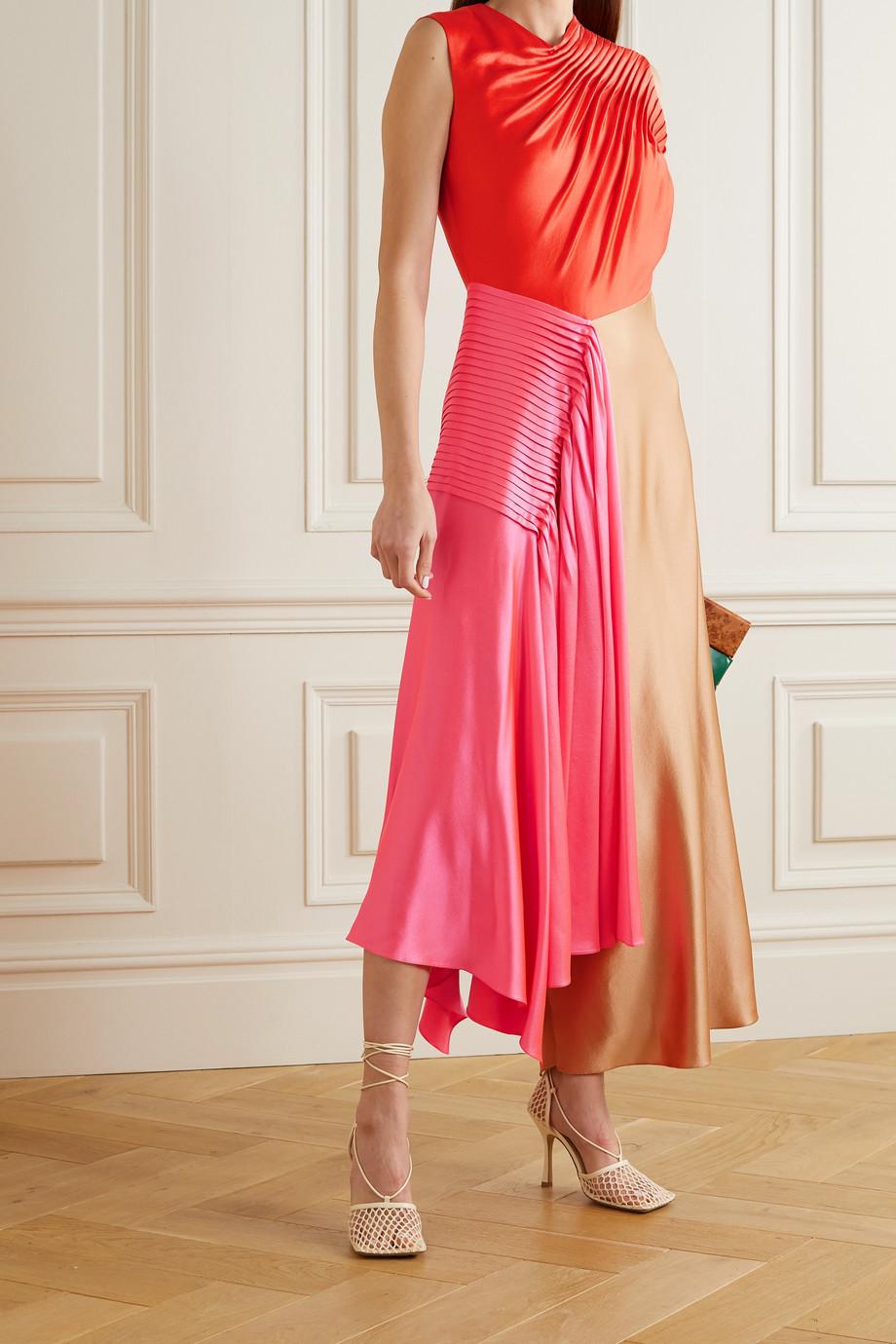Roksanda Iris asymmetrisches Kleid aus Seidensatin mit Biesen in Colour-Block-Optik