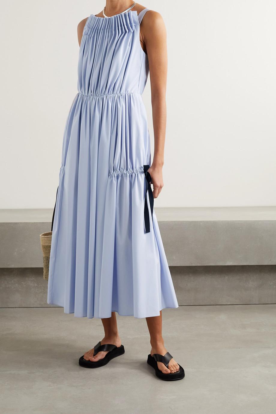 Jason Wu Gathered pleated cotton-blend poplin midi dress