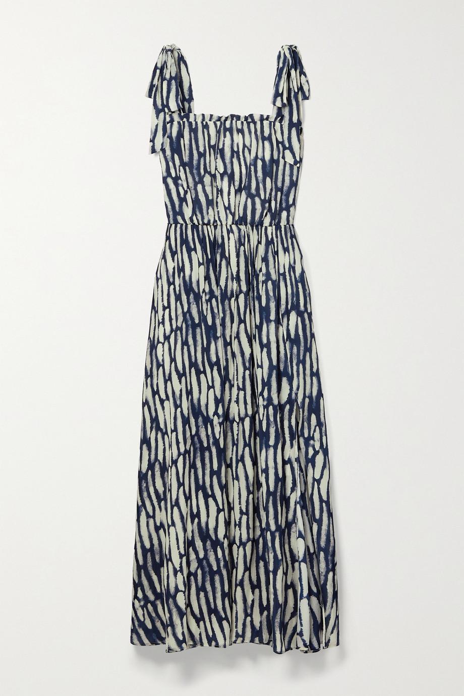 Jason Wu Tie-detailed printed crepon midi dress