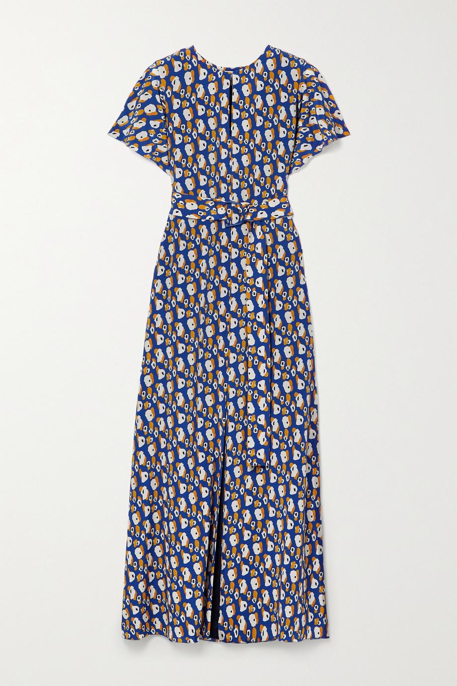 Jason Wu Belted printed silk-crepe maxi dress