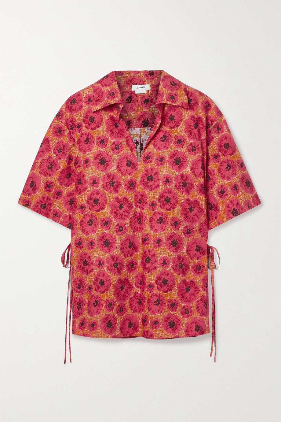 Jason Wu Tie-detailed floral-print cotton-poplin top
