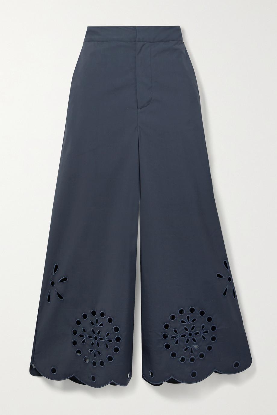 Jason Wu Broderie anglaise cotton-blend poplin culottes
